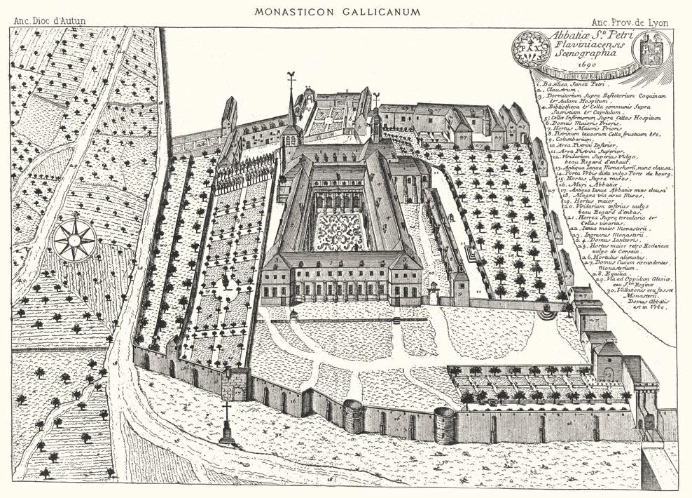 Vista dell'abbazia di Saint-Pierre alla fine del XVII secolo. Incisione del Monasticum Gallicanum.
