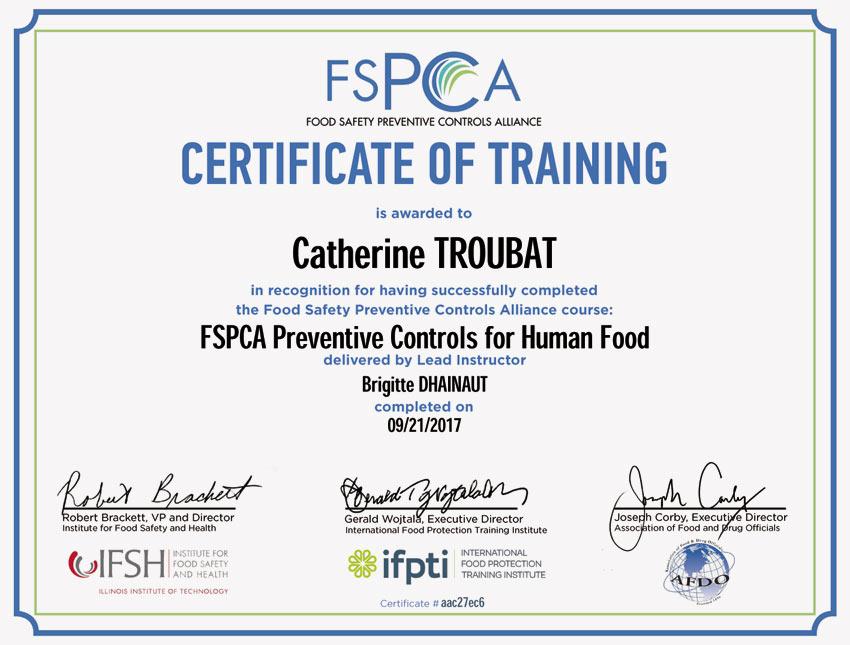 Certificato attestante la formazione della squadra responsabile per la qualità sulle norme americane di sicurezza alimentare.